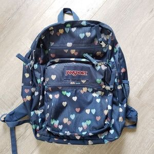 Jansport big student backpack hearts and navy